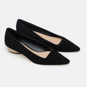 ZARA WOODEN HEEL SUEDE LEATHER FLAT